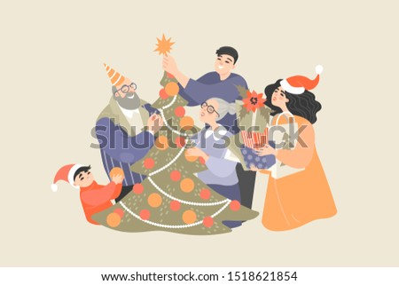 Happy family decorates a Christmas tree and prepares gifts for the holiday. Illustration of christmas spirit and family values ​​with different generations of cute cartoon characters