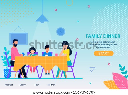 Happy Family Dinner Conceptual Landing Page Flat Template Cartoon Characters Eating Together at Dining Table Mother Father Son Daughter Togetherness Concept Vector Parents and Children Illustration