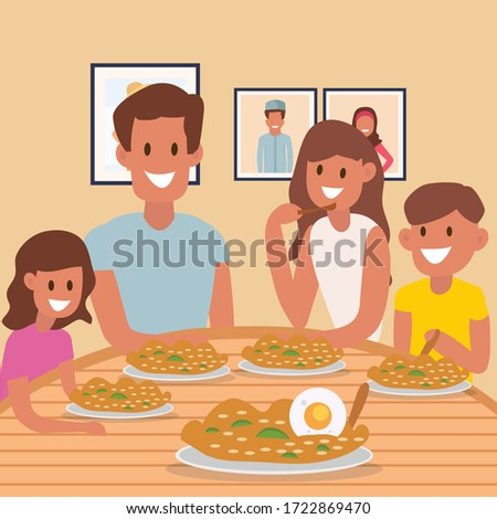 Happy family Dinner with friend rice, family with children stock photo