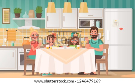 Happy family eating in the kitchen. Father, mother, son and daughter have breakfast at the table at home. Vector illustration in cartoon style.