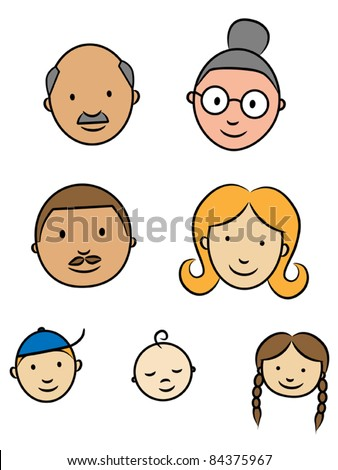Happy family faces, parents, grandparents and children, vector illustration