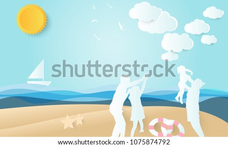 happy family,father and mother play with daughter on beach, summer background