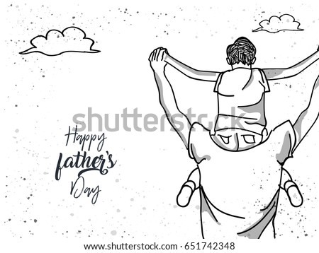 Happy family. Father and son hand drawn. The concept of father's day.