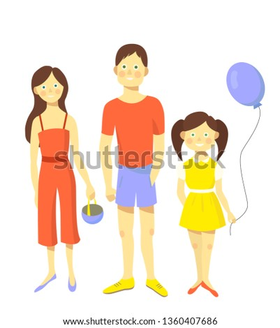 Happy family. Father, mother and daughter together. Vector illustration. #1360407686