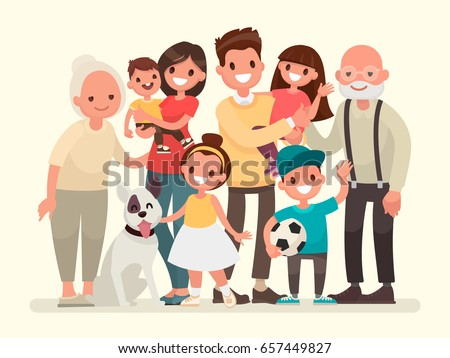 Happy family. Father, mother, grandfather,grandmother, children and pet. Vector illustration in a flat style - Shutterstock ID 657449827