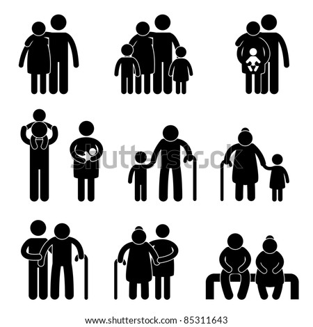 Happy Family Father Mother Grandmother Grandfather Children Son Daughter Baby Infant Toddler Old Man Woman Grandchildren Husband Wife Parent Together Icon Sign Symbol Pictogram