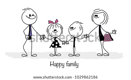 Happy family: father, mother, son and baby girl.