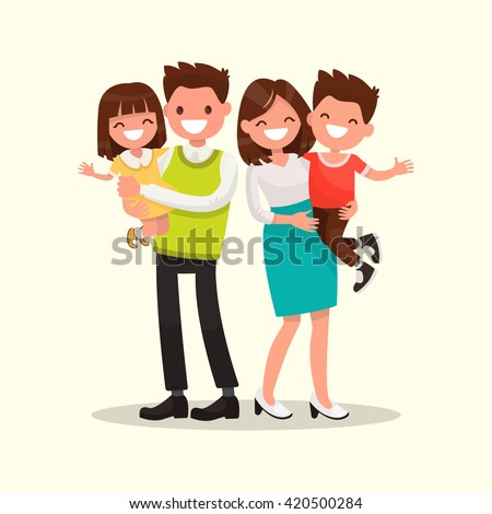 Happy family. Father, mother, son and daughter together. Vector illustration of a flat design - Shutterstock ID 420500284