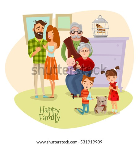 Happy family flat template with mother father son daughter grandmother grandfather baby and dog vector illustration