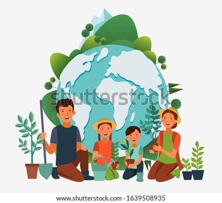 happy family gardening eco