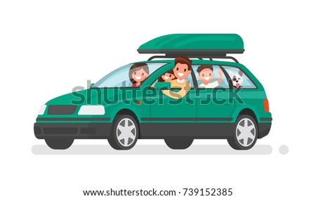 Happy family goes by car on vacation. Father, mother, son, daughter and dog go on a trip. Vector illustration in a flat style