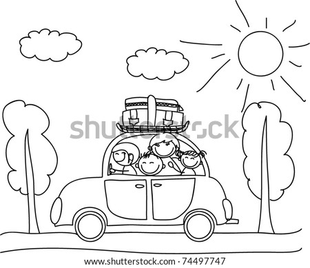 happy family going on holiday by car, black and white coloring