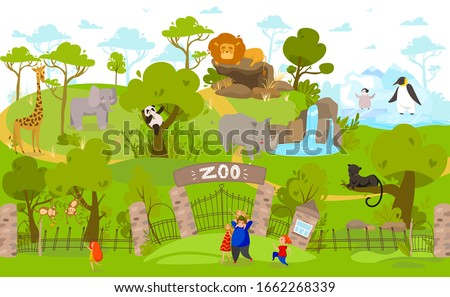 Happy family going to zoo, exotic animals cartoon characters, vector illustration. Parents and children together at zoo entrance, cute lion, panda, giraffe and penguins. Family people enjoy weekend