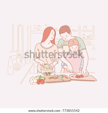 happy family hand drawn style vector doodle design illustrations.
