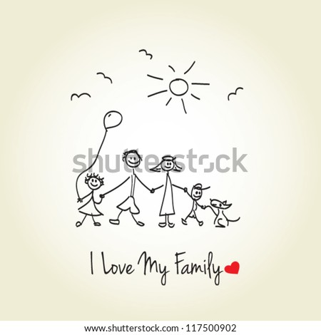Happy family hand drawn vector illustration