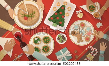Happy family having Christmas dinner and eating delicious vegan food, celebration and holiday banner, top view