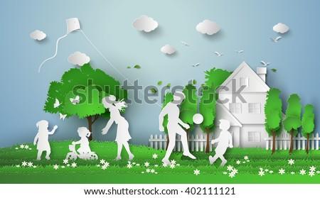 happy family having fun paper