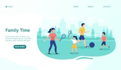 Happy family having fun together in nature. Play sports games, enjoy the weekend, happy parenting. Parents and Children in Countryside. Happy childhood, sports activity, healthy lifestyle. Flat Vector