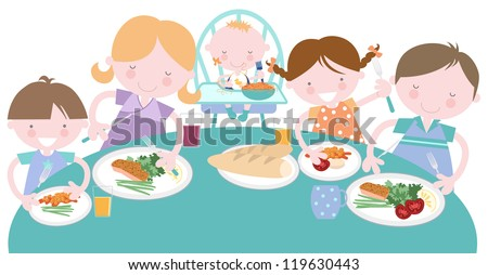 Happy Family Having Meal Together