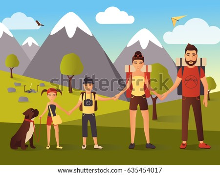 happy family hiking in the