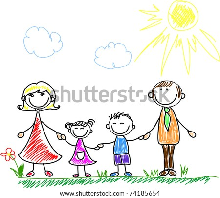 stock vector : happy family holding hands and smiling