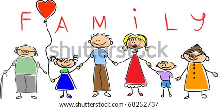 Happy family holding hands, Hand drawing Isolated on white background