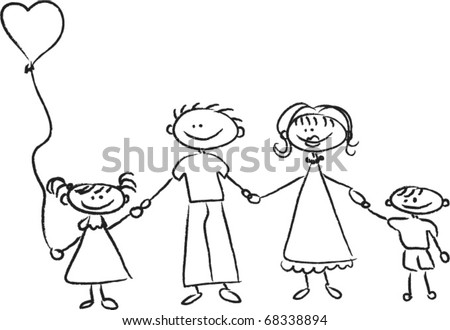 father and daughter holding hands drawing. stock vector : Happy family holding hands Hand drawing Isolated on white