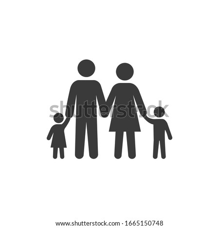 Happy Family Icon Black and White Vector Graphic