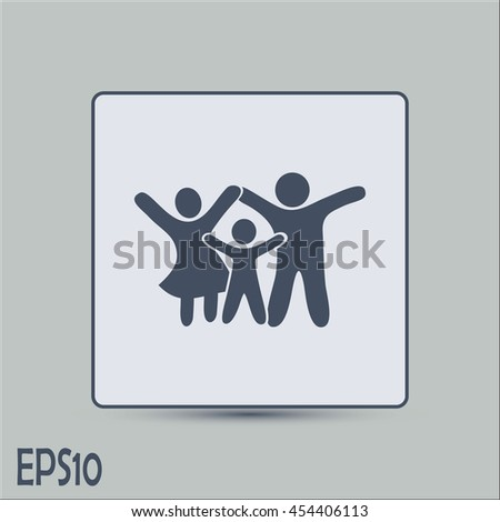 Happy family icon in simple figures