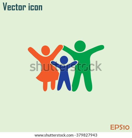 Happy family icon in simple figures, dad, mom and child stand