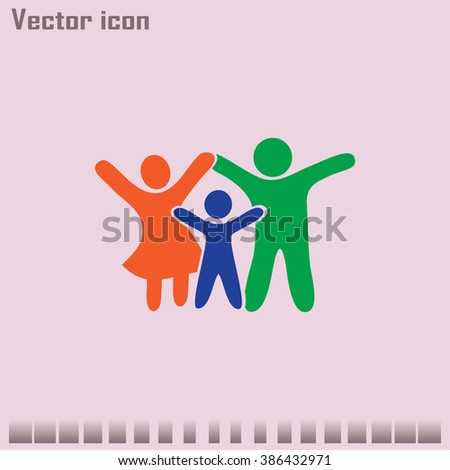 Happy family icon in simple figures, dad, mom and child stand to