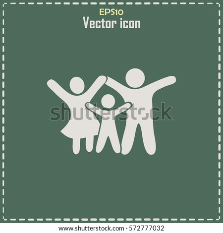 Happy family icon in simple figures, dad, mom and child stand together.