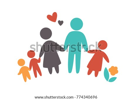 Happy family icon multicolored in simple figures. Three children, dad and mom stand together. Vector can be used as logo