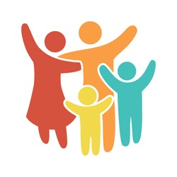 Happy family icon multicolored in simple figures. Two children, dad and mom stand together. Vector can be used as logotype.