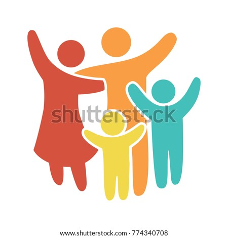 Happy family icon multicolored in simple figures. Two children, dad and mom stand together. Vector can be used as logotype. - Shutterstock ID 774340708