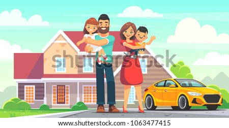 stock-vector-happy-family-in-front-of-the-house-mom-and-dad-daughter-and-son-on-the-background-of-their-home