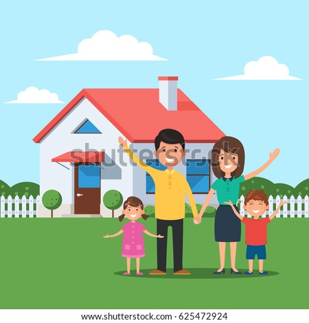 Happy family in front of the house. Mom and dad, daughter and son on the background of their home. Vector illustration in flat style