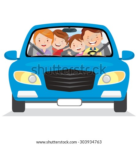 happy family in the car vector