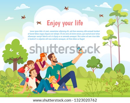 Happy family in the park taking selfie on a sunny day. Poster, card family day. Concept of friendly family and Parenthood child-rearing taking selfie walking with kids in nature. Vector cartoon.