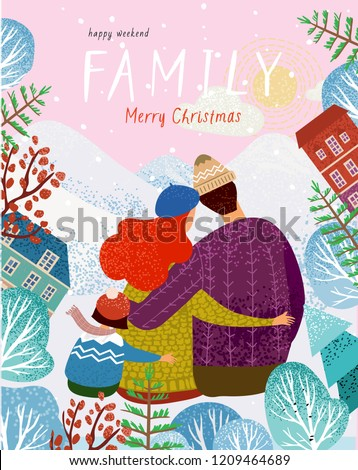 happy family in winter, vector illustration of a family on nature outdoors among mountains, trees and houses, mother, father, child sit back and hug, cute greeting card for Christmas and New Year