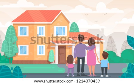 Happy family is looking at their new home. Vector illustration in flat style