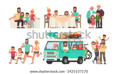 Happy family is resting, eating at the table, going on a journey by car, playing sports, walking. Grandmother and grandfather with grandchildren. Vector illustration in cartoon style