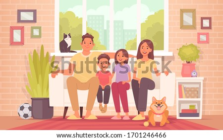 Happy family is sitting on the couch. Mom, dad, daughter, son and pets at home, against the background of the room and the view from the window of the apartment. Vector illustration in cartoon style
