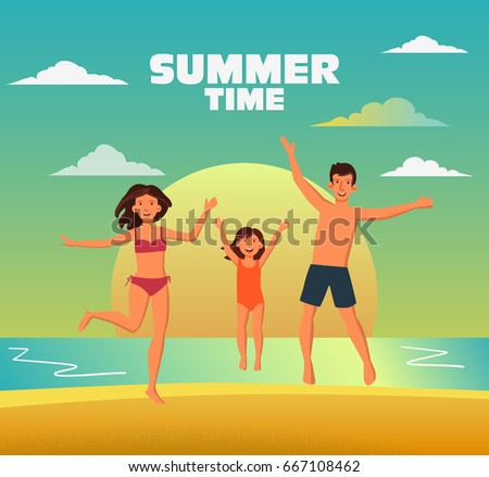 Happy family jumping on a sandy beach. Travel, vacation, holidays and adventure vector concept illustration. Beach sunset background. Poster design style. Father, mother and daughter