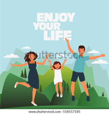 Happy family jumping on mountain landscape background. Father, mother and daughter. Travel, vacation, holidays and adventure vector concept illustration.  Poster design style