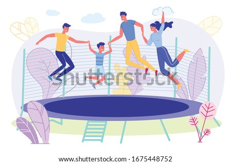 happy family jumping on