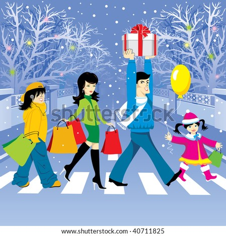 happy family makes purchases for the holiday. Vector editable. - stock vector