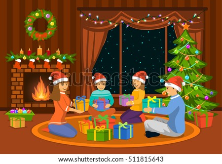 Christmas Fireplace Vector Download Free Vector Art Stock
