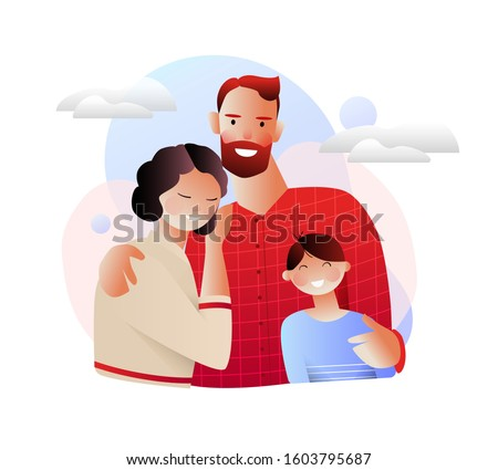Happy family. Modern flat vector concept digital illustration of a happy family of parents and children. For a family medical insurance plan