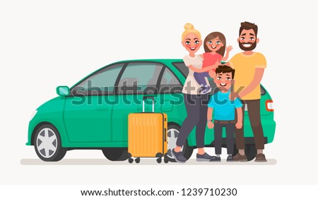 Happy family near the car with luggage. Family travel in a vehicle. Vector illustration in cartoon style
